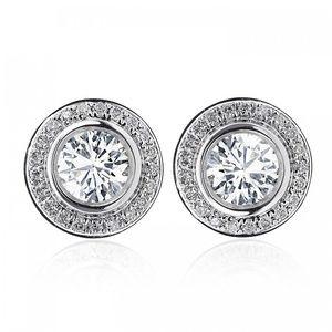 1.25 Carat Diamond Bezel Set Halo Gold Earrings